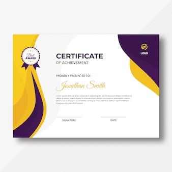 Certificat de vagues violettes et jaunes