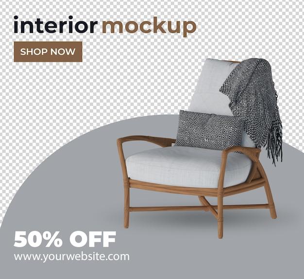 Chaise canapé décoration d'intérieur mis en rendu 3d
