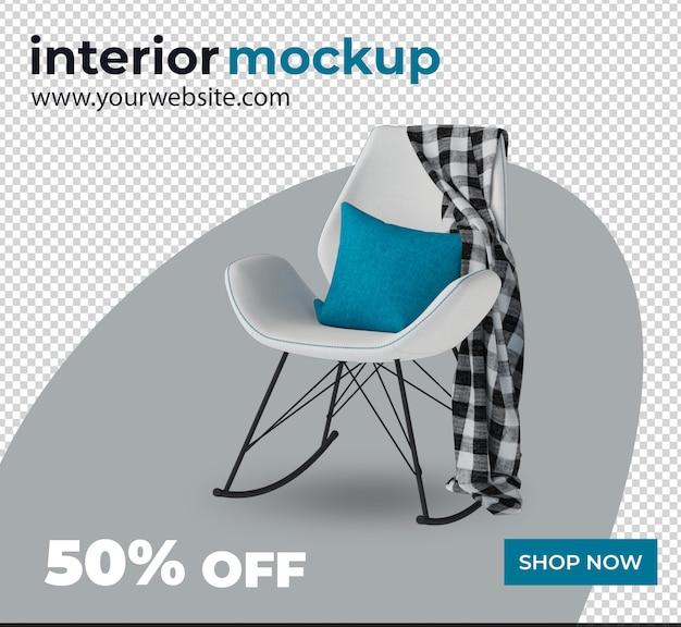 Chaise canapé décoration intérieure 3d render maquette