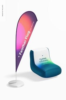 Chaise gonflable personnalisée avec maquette de bannière de drapeau de plume