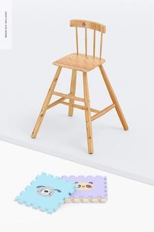 Chaise haute en bois pour enfants maquette, perspective