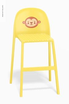 Chaise haute en plastique pour maquette d'enfants, vue de face