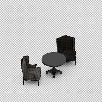 Chaise isométrique 3d rendu isolé