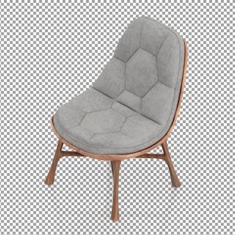 Chaise isométrique en bois avec coussin