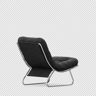 Chaise isométrique rendu 3d isolé
