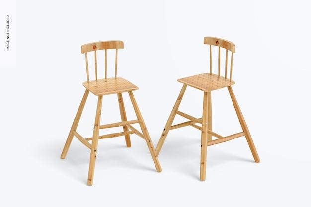 Chaises hautes en bois pour enfants maquette, vue de face