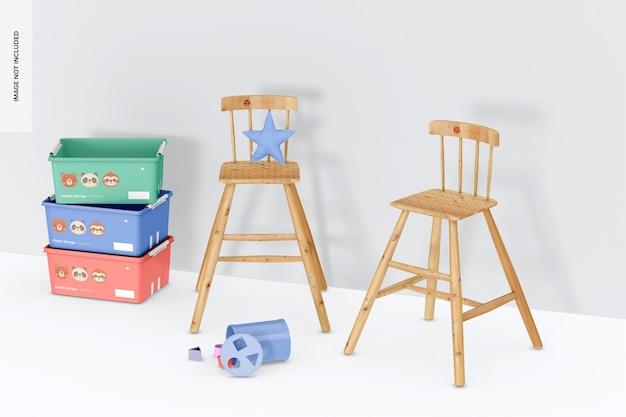 Chaises hautes en bois pour maquette d'enfants