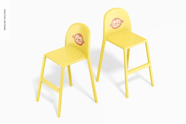 Chaises hautes en plastique pour maquette d'enfants, vue de dessus