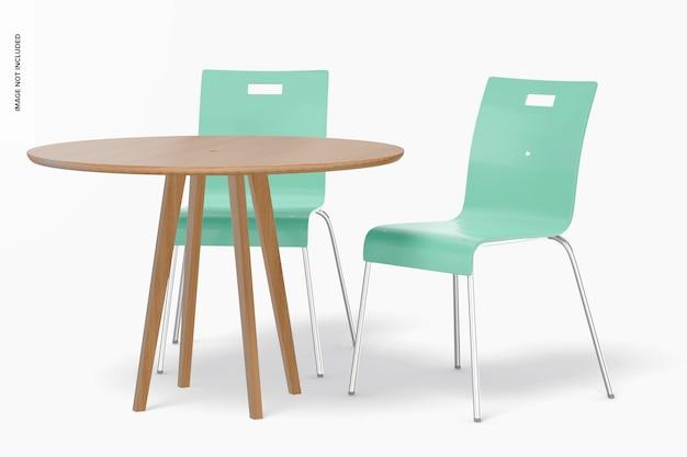 Chaises de salle à manger en métal avec maquette de table