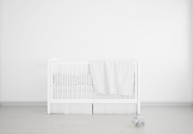 Chambre de bébé blanc réaliste avec un berceau