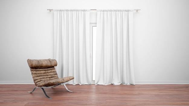 Chambre avec canapé vintage à côté de la fenêtre avec des rideaux blancs