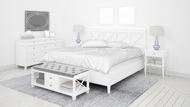Chambre ou chambre d'hôtel classique avec lit double et mobilier élégant