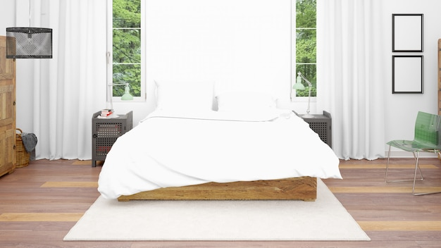 Chambre ou chambre d'hôtel avec lit double et style confortable