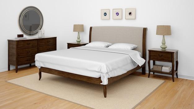 Chambre classique ou chambre d'hôtel avec lit double
