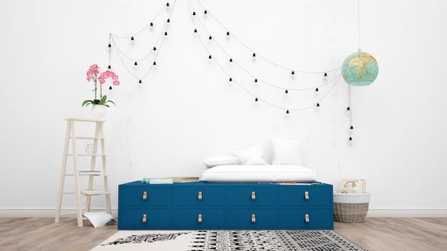 Chambre décorée avec des meubles modernes, des lampes suspendues et des objets décoratifs