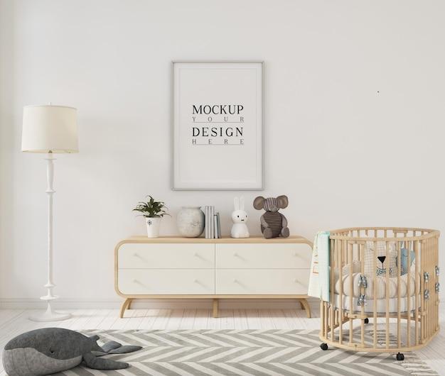 Chambre d'enfant blanche avec cadre d'affiche de maquette