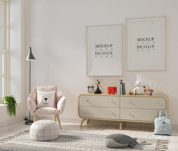 Chambre d'enfant avec cadre affiche et fauteuil maquette