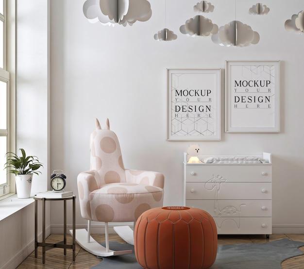 Chambre d'enfant avec cadre d'affiche de maquette