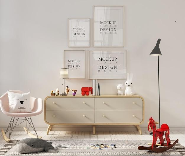 Chambre d'enfant avec cadre photo maquette et fauteuil