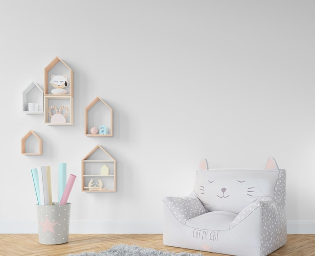 Chambre d'enfant avec étagères et jouets