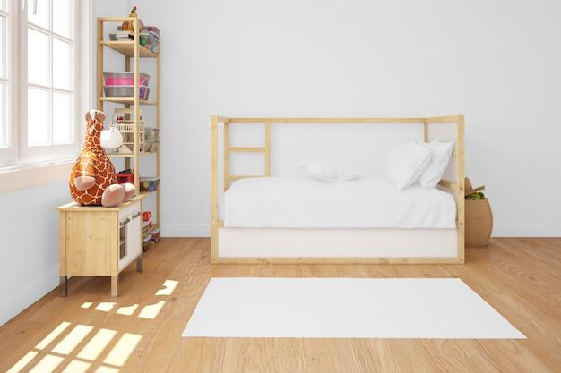Chambre d'enfant avec lit en bois