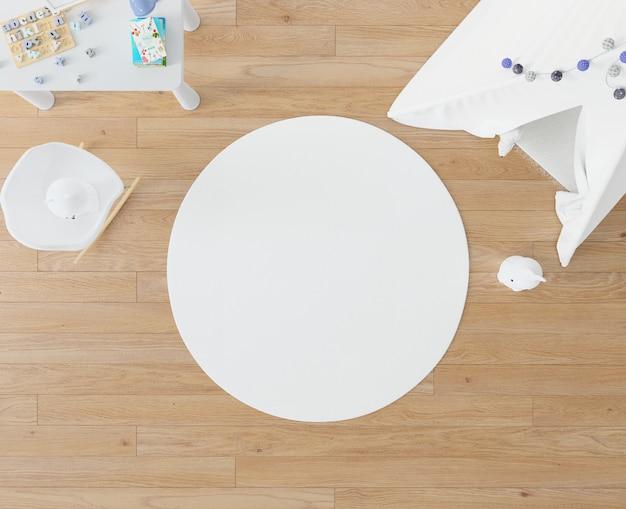 Chambre d'enfant avec tapis blanc et tipi