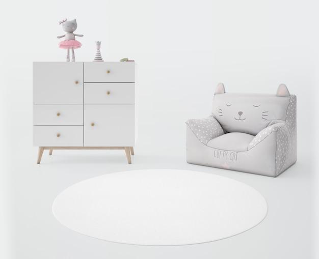 Chambre d'enfant avec tapis blanc