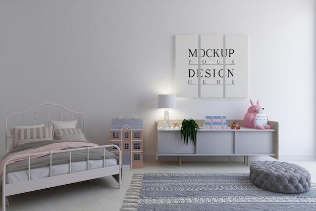 Chambre d'enfants avec affiche de conception de maquette
