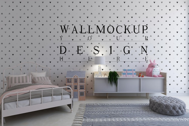 Chambre d'enfants avec mur design maquette