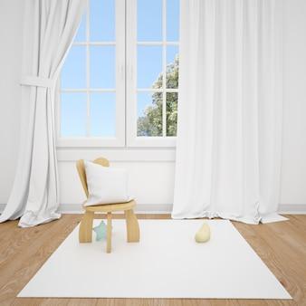 Chambre d'enfants avec petite chaise et fenêtre blanche
