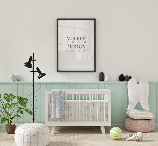 Chambre de pépinière de couleur pastel avec affiche de maquette dans le cadre