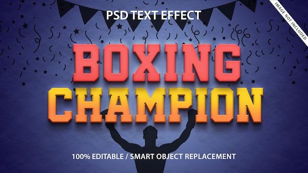 Champion de boxe avec effet de texte modifiable