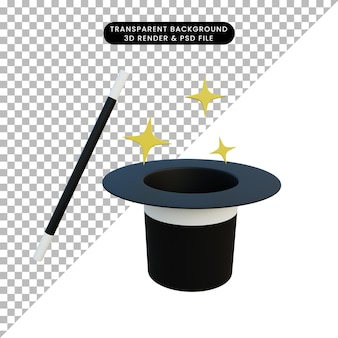 Chapeau magique d'objet simple illustration 3d et bâton magique avec éclat