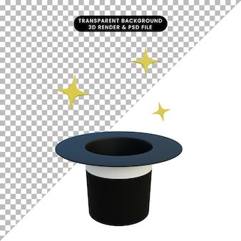 Chapeau magique d'objet simple illustration 3d avec éclat
