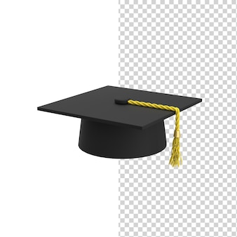 Chapeau de mortier académique noir carré ou casquette de graduation avec modèle de rendu 3d tassel mortar board