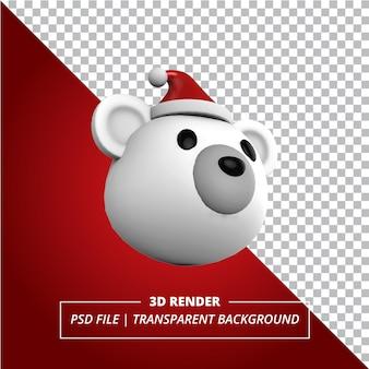 Chapeau de noël ours polaire 3d sur fond transparent