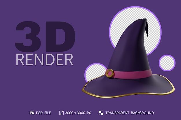 Chapeau de sorcière 3d avec fond isolé
