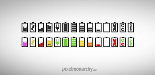Chargeurs colorés ou des icônes batterie