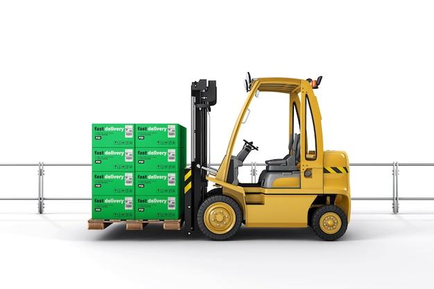 Chariot élévateur avec boîtes en carton sur maquette de palette