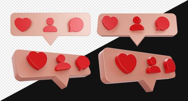 Chat ou bulle pop-up réaliste 3d avec symbole de commentaire de personne d'amour isolé