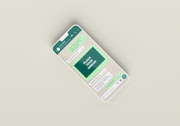 Chat de maquette de téléphone à plat