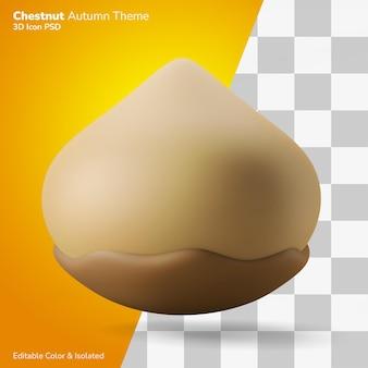 Châtaigne automne thème 3d illustration rendu 3d icône modifiable isolé
