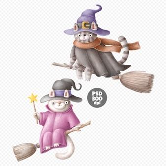 Chats sorcières mignons personnages dessinés à la main isolés