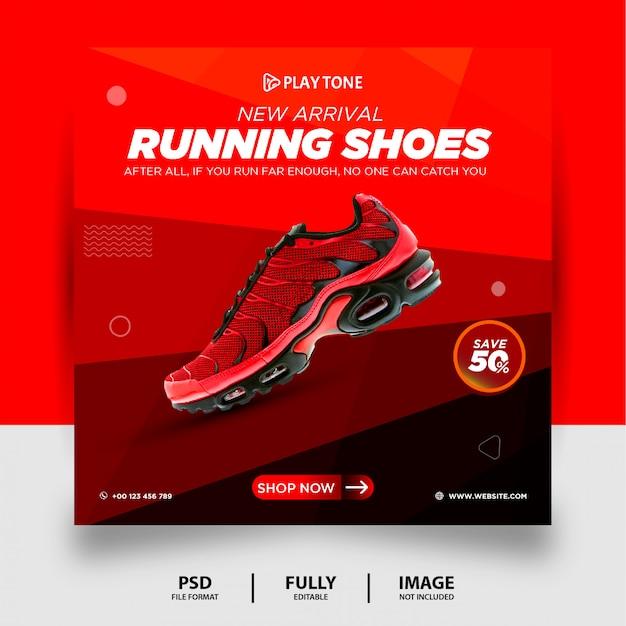 Chaussures de course de couleur rouge produit de marque social media post banner