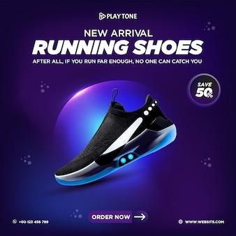 Chaussures de course dégradées de couleur pourpre produit de marque bannière de publication de médias sociaux