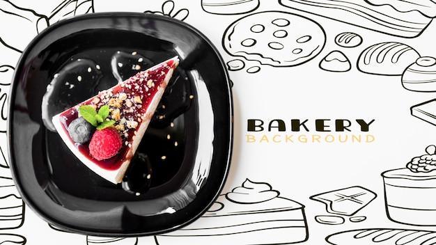 Cheesecake saupoudré d'amandes vue de dessus
