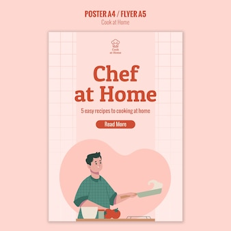 Chef à la maison conception d'affiche