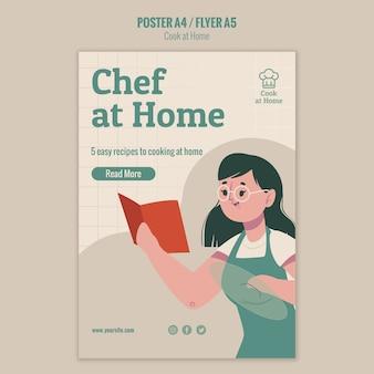 Chef à la maison style affiche