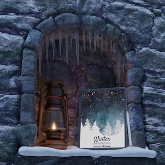 Cheminée avec lanterne et tablette
