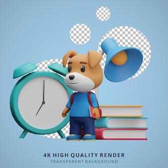 Chien mignon retour à l'école mascotte personnage 3d illustration tenant un livre